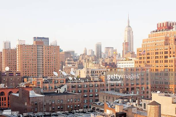 USA, New York City, Meatpacking District with Empire State Building in the background