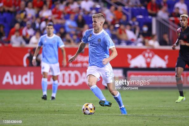 New York City midfielder Keaton Parks controls the ball during the first half of the Major League Soccer game between the New York Red Bulls and New...