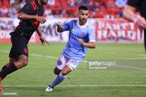 New York City midfielder Maximiliano Moralez during the first half of the Major League Soccer game between the New York Red Bulls and New York City...