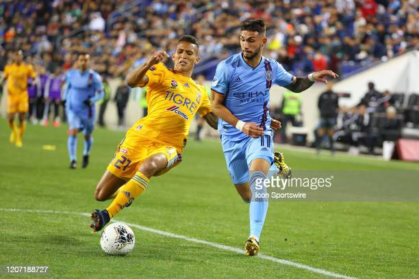 New York City midfielder Valentin Castellanos controls the ball during the second half of leg 1 of the Concacaf Champions League Quarterfinal between...