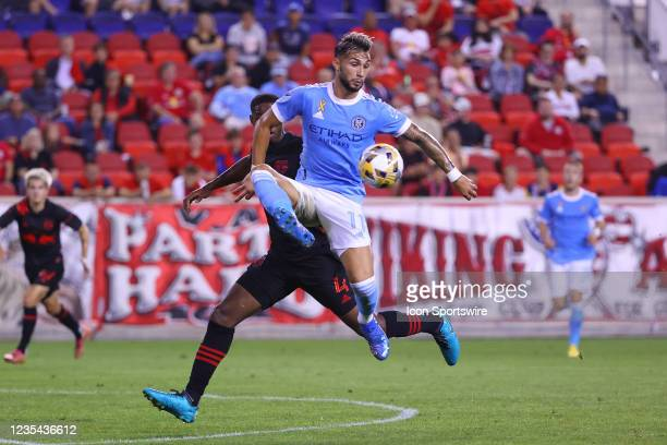 New York City midfielder Valentin Castellanos controls the ball during the first half of the Major League Soccer game between the New York Red Bulls...