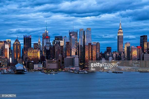 Ciudad de Nueva York, Midtown Manhattan, ciudad en puesta de sol luz