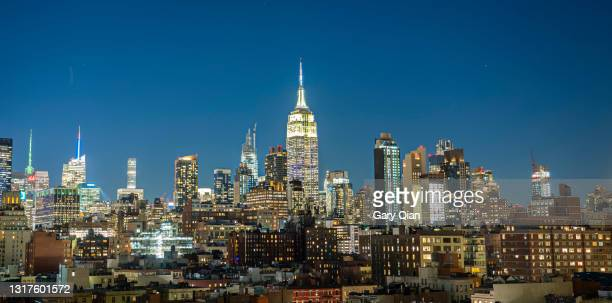 new york city midtown skyline as seen from google nyc office/chelsea market rooftop - google stock pictures, royalty-free photos & images