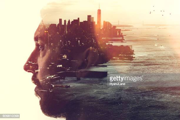 new york city mind state concept image - mindfulness stock pictures, royalty-free photos & images