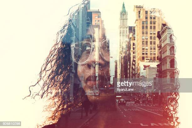 new york city mind state concept image - reflection stock pictures, royalty-free photos & images