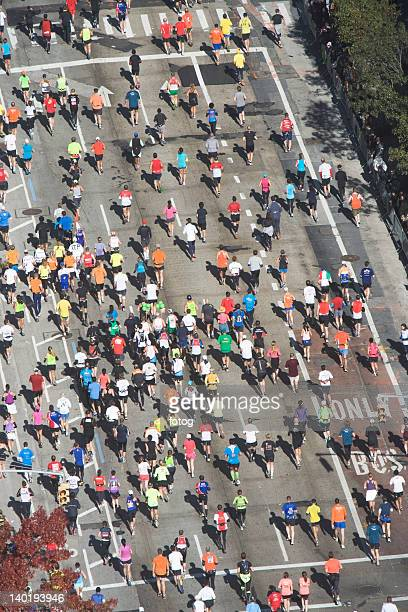 USA, New York City, New York City Marathon as seen from above