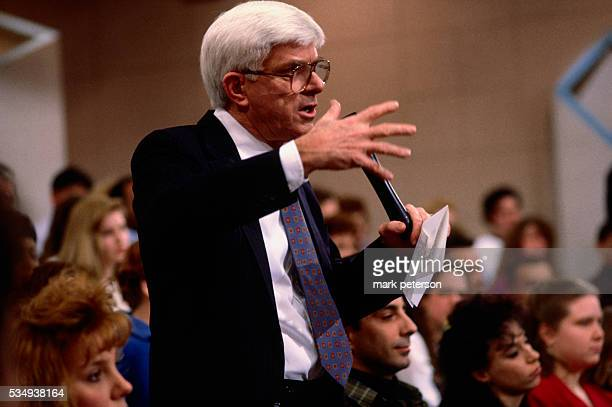 New York City New York Phil Donahue Show Phil with Kiri Jewell who grew up in David Koresh's cult Show Waco Cult