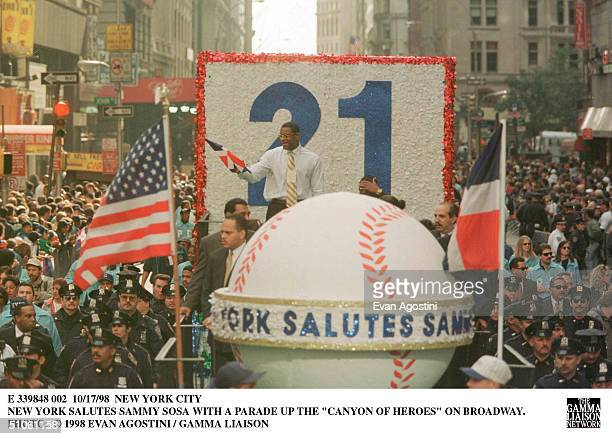 New York City New York Salutes Sammy Sosa With A Parade Up The 'Canyon Of Heroes' On Broadway