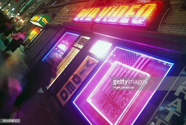 New York City, New York: Three months after 9/11, terrorist attacks, life is getting back to normal. This is a porno and peep show shop.