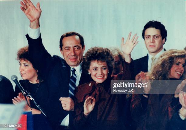 New York Governor Mario Cuomo makes a victory speech after winning reelection at the Sheraton Centre in Manhattan New York on November 4 1986 Members...