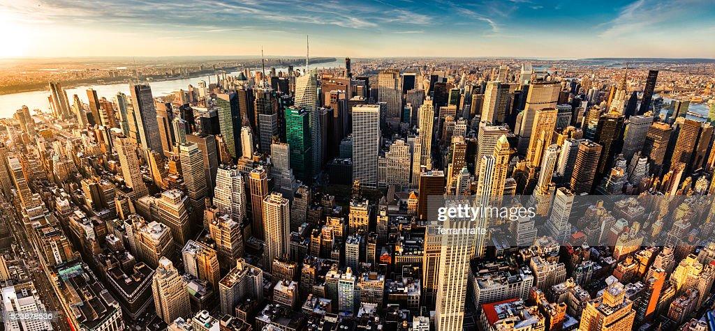 New York City Panoramic Aerial View : Stock Photo