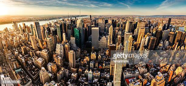 new york city panoramic aerial view - new york skyline stock photos and pictures