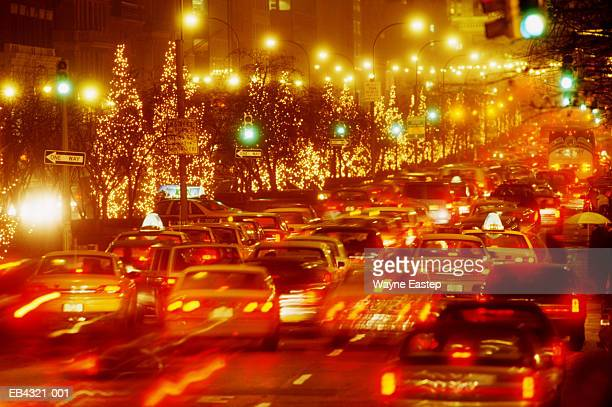 USA, New York City, Park Avenue, traffic at night (long exposure)