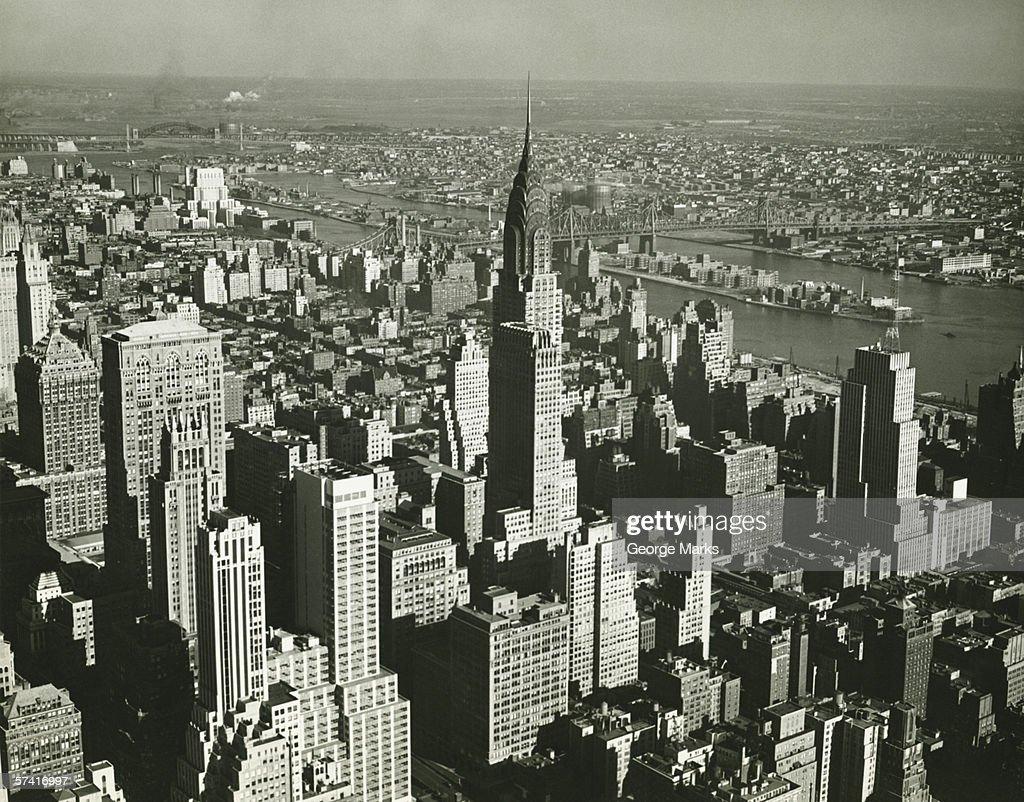 New York City, (B&W), (Aerial view) : Stock Photo
