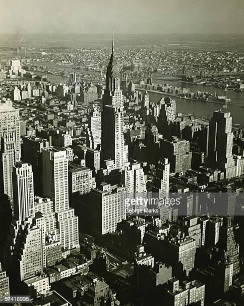 New York City, (B&W), (Aerial view)