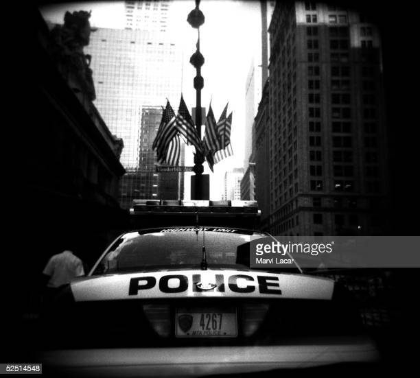 New York City police car blocks traffic from entering Vanderbilt street in front of Grand Central station August 4 2004 in New York City Tight...