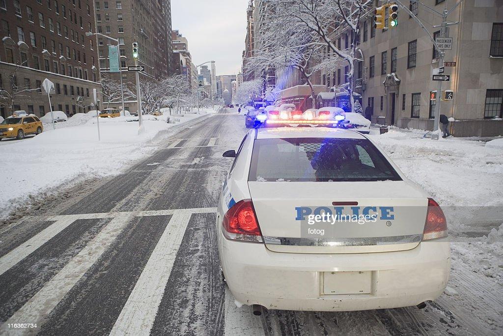 USA, New York City, police car on Park Avenue : Stock Photo