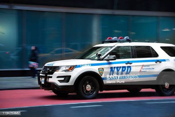 new york city police car - police lights stock pictures, royalty-free photos & images
