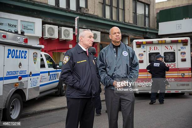 New York City Police Commissioner Bill Bratton left and the Secretary of Homeland Security Jeh Johnson right talk before an active shooter drill on...
