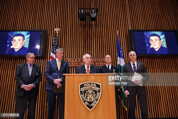New York City Police Commissioner Bill Bratton speaks at a news conference at police headquarters following the death of officer Brian Moore on May 4...