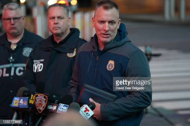 New York City Police Commissioner Dermot F. Shea speaks at a press conference in Times Square on May 8, 2021 in New York City. According to reports,...
