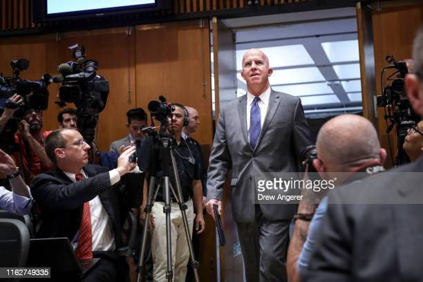 New York City Police Commissioner James O'Neill arrives for a press conference to announce the termination of officer Daniel Pantaleo on August 19...