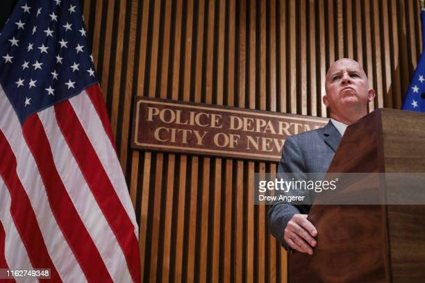 New York City Police Commissioner James O'Neill speaks during a press conference to announce the termination of officer Daniel Pantaleo on August 19...