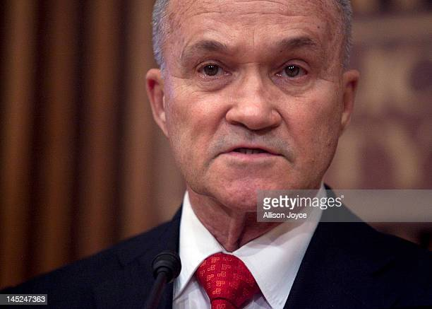 New York City Police Commissioner Ray Kelly holds a news conference at Police Headquarters May 24 2012 in in New York City Kelly announced the arrest...