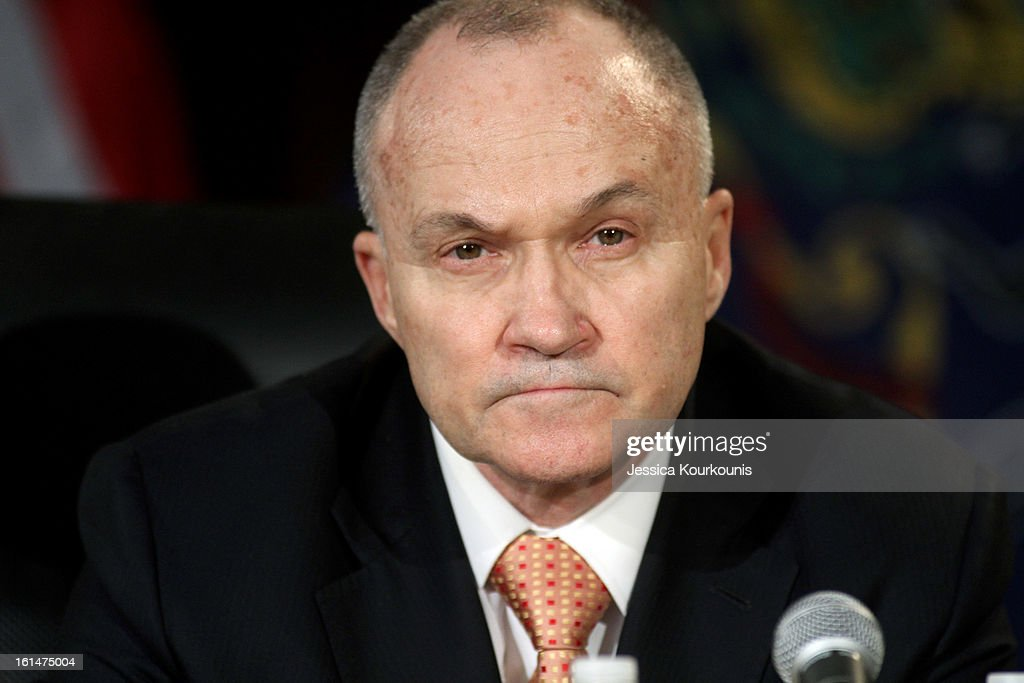 New York City Police Commissioner Ray Kelly listens to U.S. Vice President Joseph Biden deliver remarks following a roundtable discussion with law enforcement officials to discuss gun safety on February 11, 2013 at Girard College in Philadelphia, Pennsylvania. President Barack Obama's administration is pushing for new gun control measures in the wake of the school shooting in Newtown, Connecticut.