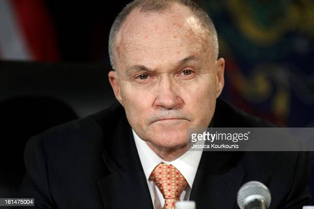 New York City Police Commissioner Ray Kelly listens to US Vice President Joseph Biden deliver remarks following a roundtable discussion with law...