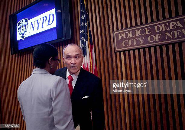 New York City Police Commissioner Ray Kelly talks to a colleague after a news conference at Police Headquarters May 24 2012 in in New York City Kelly...