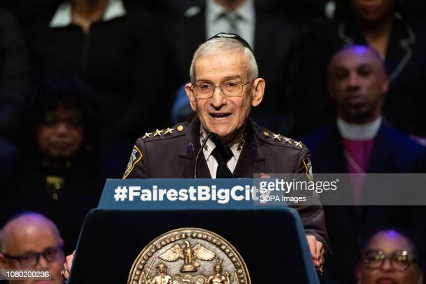 New York City Police Department Chaplain Rabbi Alvin Kass seen giving the invocation at the State of the City Address at the Peter Jay Sharp Theater...