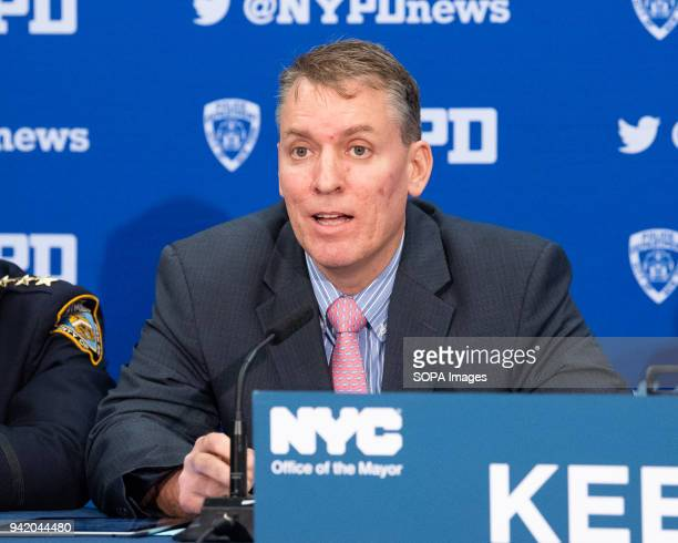 New York City Police Department Chief of Crime Control Strategies Dermot Shea discussing crime statistics at the 24th Police Precinct on the Upper...