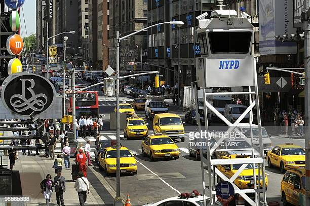 A New York City Police Department mobile observation tower is seen in Times Square on May 5 2010 US officials Wednesday ratcheted up security in the...