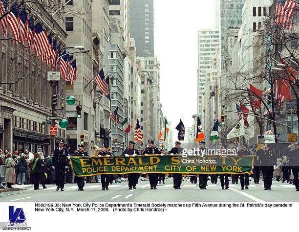 New York City Police Department's Emerald Society marches up Fifth Avenue during the St Patrick's day parade in New York City NY March 17 2000