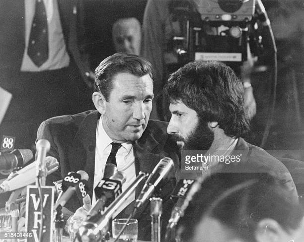 New York City police officer Frank Serpico sits with his attorney former US Attorney General Ramsey Clark during a press conference concerning his...