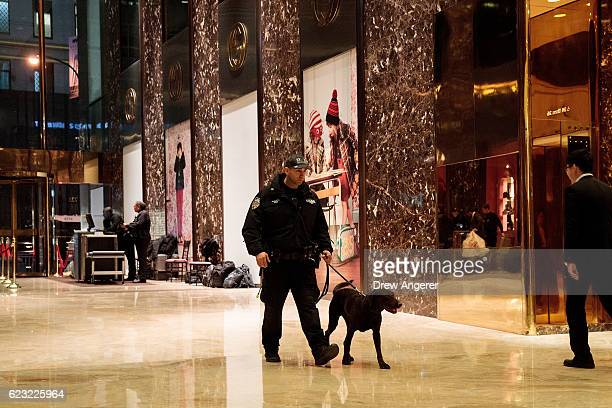 New York City Police officer walks with a dog inside the lobby at Trump Tower November 14 2016 in New York City Trump is in the process of choosing...
