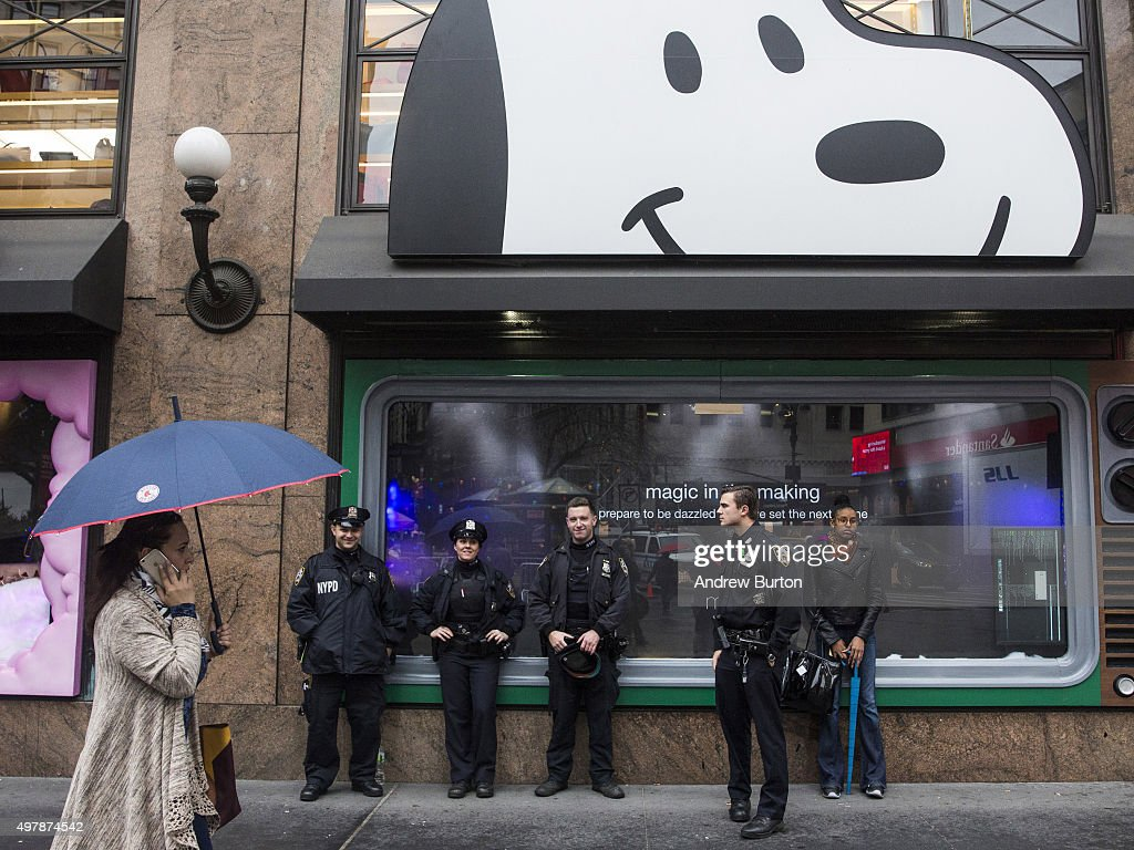 New York City police officers stand guard in Herald Square on November 19, 2015 in New York City. In a new ISIL video the terrorist group threatens attacks in New York's Times Square and Herald Square.
