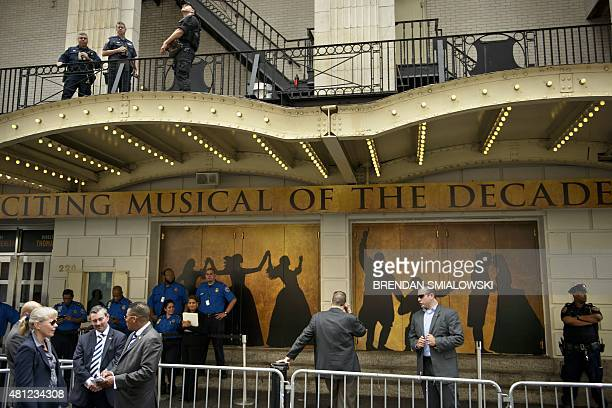 New York City Police Secret Service Transportation Security Agency and other security guard the Richard Rodgers Theatre while US President Barack...