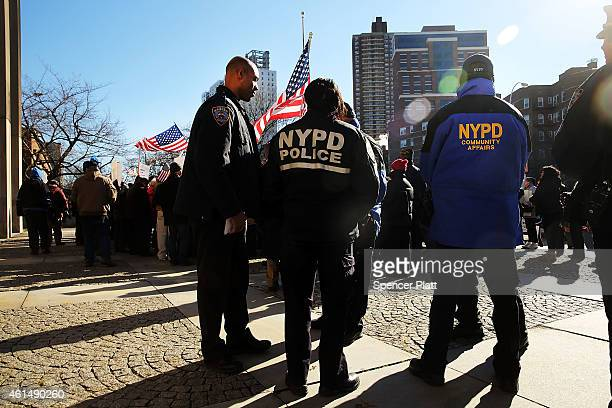 New York City police seen at a 'Support Your Local Police' news conference and rally at Queens Borough Hall on January 13 2015 in New York City...