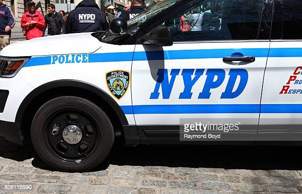 New York City police SUV with two NYPD counter terrorism officers sits on Broadway in New York, New York on April 15, 2016.
