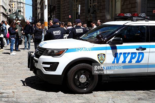 New York City police SUV with two NYPD counter terrorism officers sits on Broadway in New York New York on April 15 2016