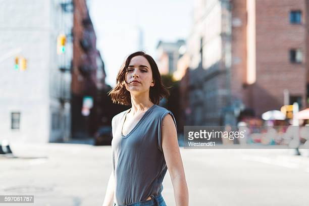 usa, new york city, portrait of young woman - attitude stock pictures, royalty-free photos & images