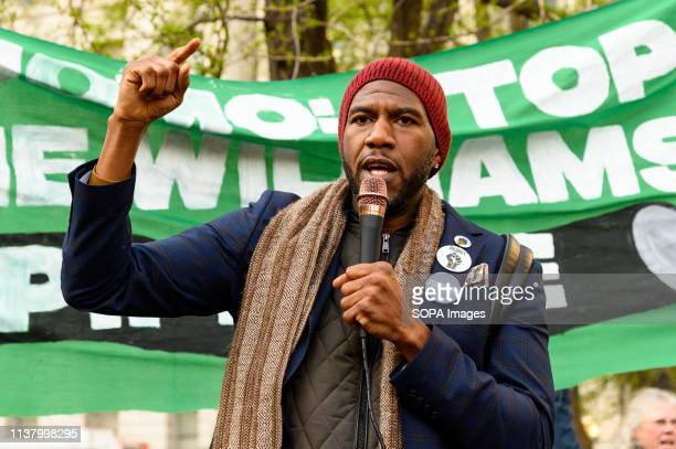 New York City Public Advocate Jumaane Williams speaking at the protest to stop the construction of the Williams natural gas pipeline aka 'Northeast...