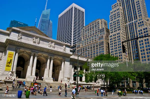 new york city public library main branch & cityscape, manhattan - new york public library stock pictures, royalty-free photos & images