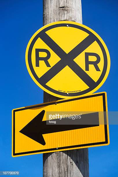 usa, new york city, railroad crossing sign - railroad crossing stock pictures, royalty-free photos & images