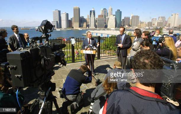 New York City Republican mayoral candidate Michael Bloomberg speaks to the media September 26 2001 in the Brooklyn borough of New York City one day...