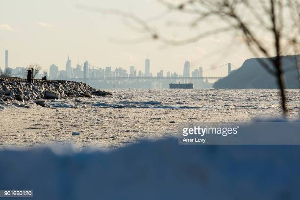 New York City seen threw the frozen Hudson River on January 5 2018 in Dobbs Ferry New YorkExtreme low tempratures and wind are expected throghout the...