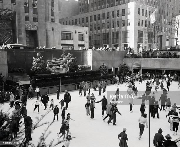 Skaters on ice at Rockefeller Center in winter in the sunken garden Undated photograph BPA2# 3325 GENDREAU