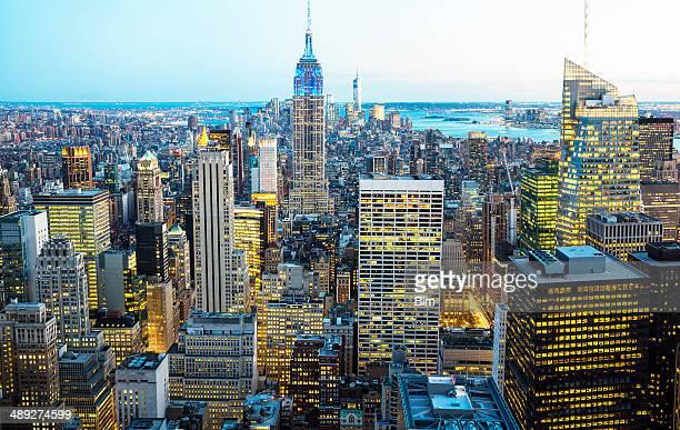 New York City Skyline, Aerial View at Twilight